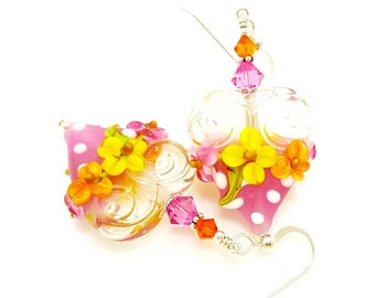 Pink and Orange Floral Heart Earrings, Valentine Earrings, Lampwork Earrings, Polka Dot Earrings, Glass Bead Earrings, Beadwork Earrings