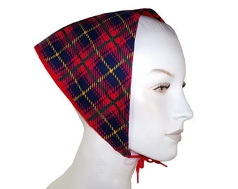 Vintage 70's Bright Tartan Plaid Corduroy Head Scarf Kerchief, Reversible Green Headkerchief