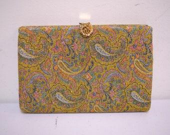 VINTAGE INGBER Gold Metallic Paisley Print Evening Bag Clutch Rosette Closure