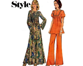 Style 4480 Smock Top Maxi Dress & Pants Vintage Sewing Pattern Size 12 Bust 34 Inches