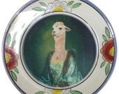 """ON SALE Imperatrice Vicugna - Altered Vintage Plate 6.25"""""""