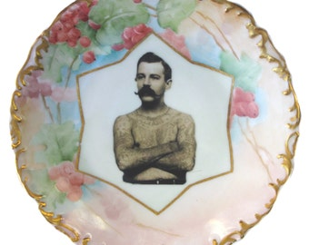 """The Tattooed Man - Altered Vintage Plate 7.75"""""""