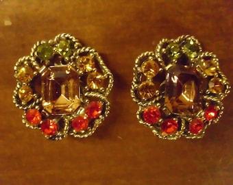 Vintage 1960's  Rhinestone Earrings