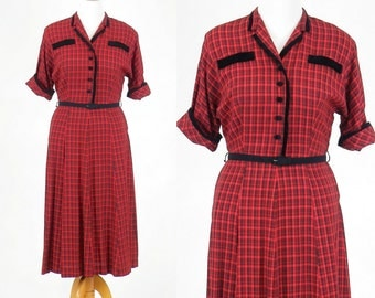 1940s Dress, Red Plaid Dress, Vintage 40s Day Dress, Rose Day Fashions, Large