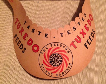 Vintage Tuxedo Feeds Agriculture Advertising Sign Visor Hat