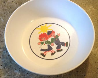 Raggedy Ann and Andy Doll Cereal Bowl Vintage Anacapa Melamine Melmac