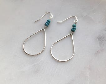 Steeling Silver Turquoise Earrings