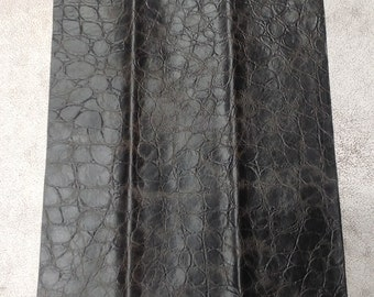 ML914.  Black Embossed Reptile Leather Cowhide Remnant