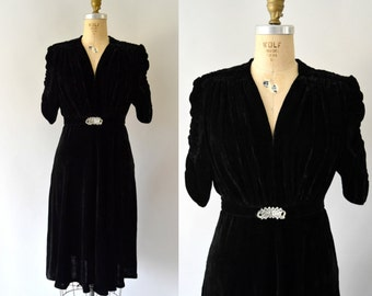 1940s Vintage Dress - 40s New York Creations Black Silk Velvet Swing Dress