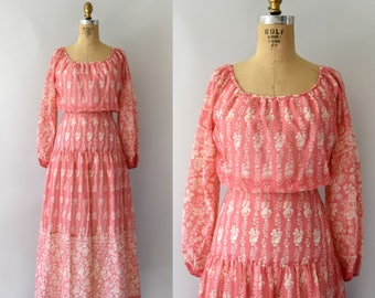 Vintage 1970s Dress - 70s Rose Print Pink Cotton Maxi Dress