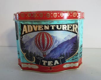 Red and Turquoise Adventurer Tea Vintage Metal Primitive Rustic Country Home Decor Decoration Collectible Advertising Kitchen wvluckygirl