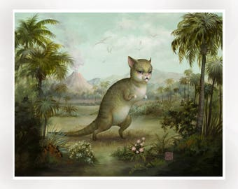 The Dinokitty-Rex Signed 11x14 pop surrealism Fine Art Print by Mab Graves -unframed