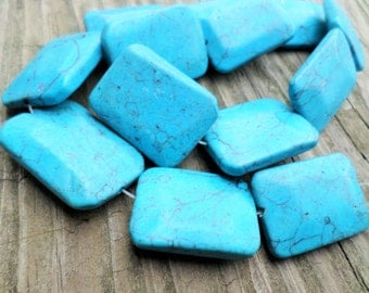 Turquoise MAGNESITE Rectangle Beads 30x21mm 15 Inch Strand