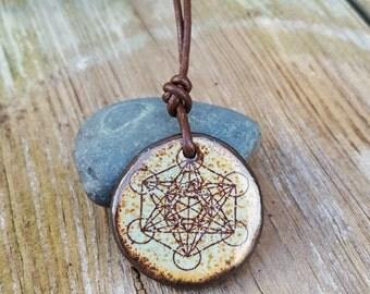 Metatron's Cube pendant Sacred geometry Green Brown Clay leather Inspirational Gift Earthy Spiritual stoneware pottery pendant Reiki energy