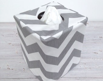 Gray Chevron reversible tissue box cover