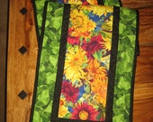 "Bright Yellow Sunflowers Quilted Table Runner, 14 x 47"", Reversible, 100% cotton fabrics"