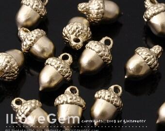 SALE/ 10pcs / NP-1852 Matt Gold Plated, Acorn Charm, Acorn Pendant, Acorn Necklace Pendant