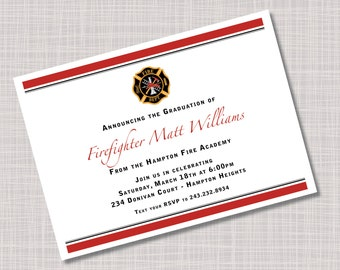 Custom Firefighter Fire Academy Graduation Party Invitations Announcements