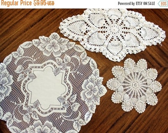 3 Assorted Crochet and Lace Doilies, Heritage Lace Doily, Whites and Ecru Lot 13568