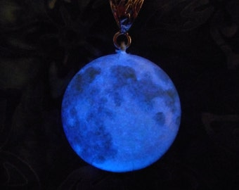 Glow-in-the-Dark Jewelry, Blue Moon Glow-in-the-Dark Necklace, Silver or Soft Black Cord - 8 hour glow!