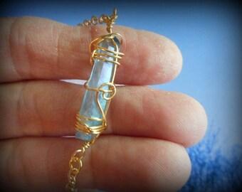 Aqua Aura Quartz Crystal Necklace Pendant Metaphysical