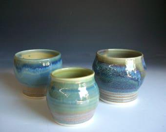 Hand thrown porcelain pottery jar suite of 3  (JS-5)