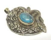 Tibetan silver repousse dragon  pendant inlaid with turquoise inlay - Nepal pendant - 1 pendant - PM271Mx