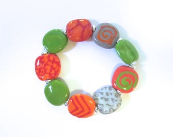 Beaded Bracelet, Kazuri Bangle, Fair Trade, Ceramic Jewellery, Green Gray Orange Red and White Bracelet