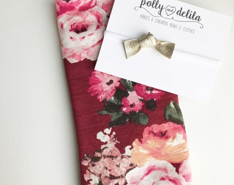 Cranberry floral swaddle blanket with platinum leather knot bow set