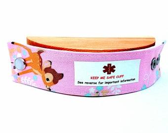 Medical Alert Bracelet Safety ID Fabric Band - Bambi