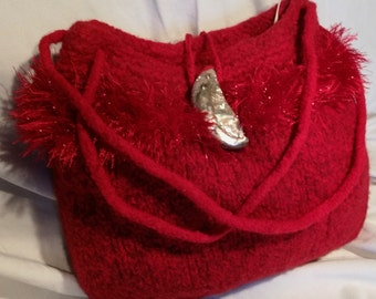 Hand Knit, Felted Handbag (#75) with Seashell Closure