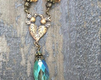 Apricot and Aqua with Clear Crystal Necklace