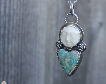 Bohemian Moon and Turquoise Heart Necklace, Sterling Silver Jewelry, Boho Style