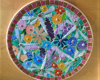 Mosaic Wildflower and Dragonfly Platter
