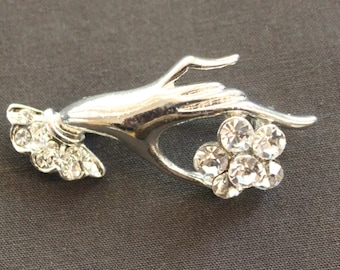 Ladies Hand And Flower Pin