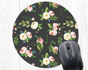 Mouse Pad Floral Mousepad Office Decor Office Desk Accessories Office Supplies Desk Accessories for Women Desk Decor Black Mint Pink