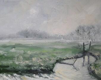 Dutch winter landscape - painting - oilpainting - Netherlands -  winter landscape - original painting - Grass landscape, canal, fence