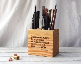 Small Desk Caddy + quote, Desk Organizer, Office Desk Accessory, Pencil Holder, Tool Caddy, Paint Brush Holder, Utensil Caddy, Office, Wood