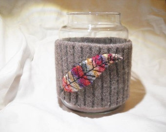 Felted Wool Jar Candle Cover Jar Candle Cozy with Feather