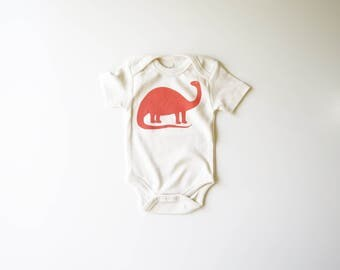 Organic Cotton Baby Brontosaurus Bodysuit | Screen Printed Dinosaur | Babies One Piece | Gender Neutral | Unisex Infant Clothes | Peach