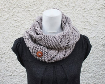 SCARF infinity - clay snood scarf, pastel womens knitwear UK, gift for her