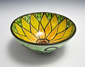 Small Ceramic Serving Bowl - Pottery Clay - Majolica Pottery - Kitchen Prep Bowl - Orange Yellow Lotus Flower - Cereal Bowl - Gift for her