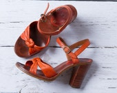 vintage 1970s orange leather stacked wooden heels