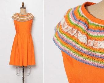 vintage 1960s crocheted orange fiesta dress