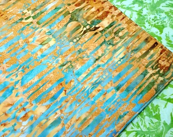 Tropical Batik Placemats  - Reversible Spring Placemats - Green Placemats - Turquoise Blue Placemats - Modern Placemats - Set of 2