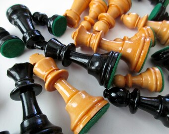 34 vintage wooden Chess pieces -  game, carved wood, king, queen, bishop, knight