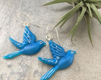 Blue Birds in Flight Resin Earrings | Blue Bird of Happiness Gift