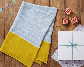 Baby blanket, knit baby blanket, pram blanket, childrens blanket, blue yellow blanket, fair isle blanket, baby shower gift, swaddle blanket