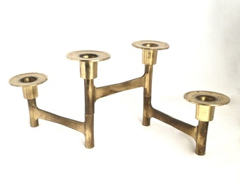 Articulating candlestick holder, Mid Century brass candlesticks, brass candleholder, one-piece articulating sculptural candle holder