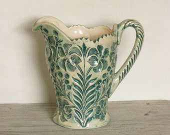 Beautiful Vintage Iridescent Pitcher, Green and White Floral Pattern, Art Nouveau Style, Lillies, Fancy Drinkware, Large Decorative Pitcher
